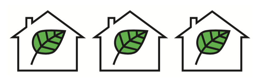 3 home icons with a leaf in the middle