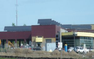 View of Ajax Operations Centre and Solera Solar Panels on Rooftop