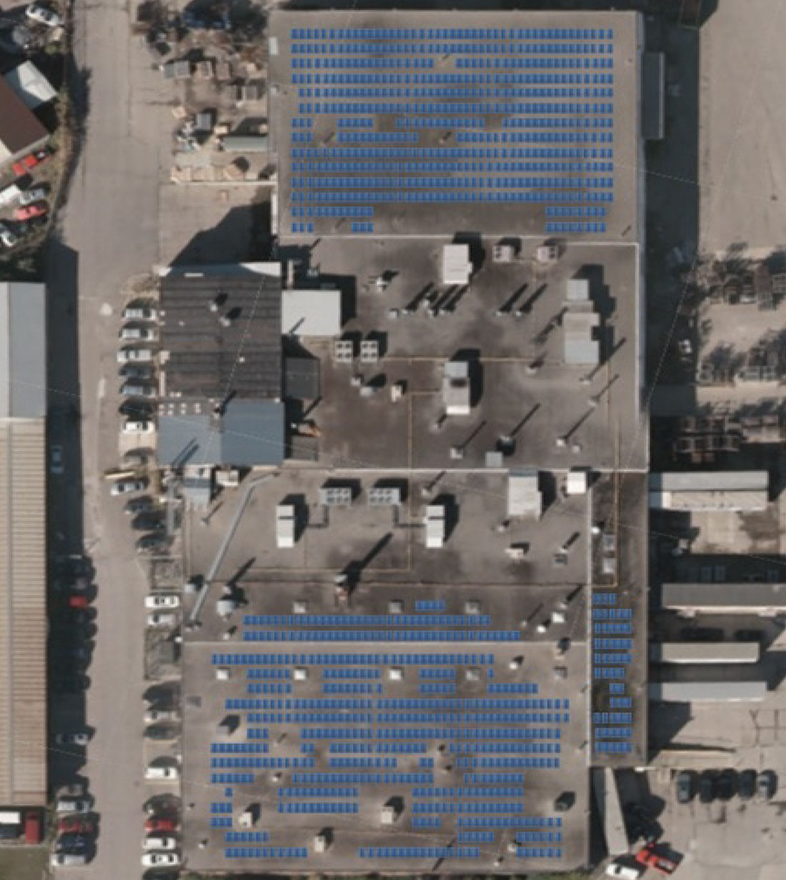 Butcher Finishing Arial View of rooftop solar panels