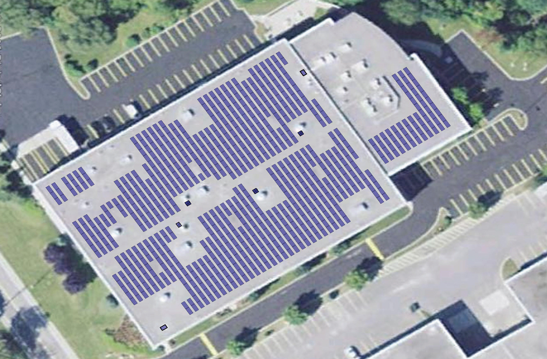 Purdue Pharma Aerial View of Rooftop solar panels