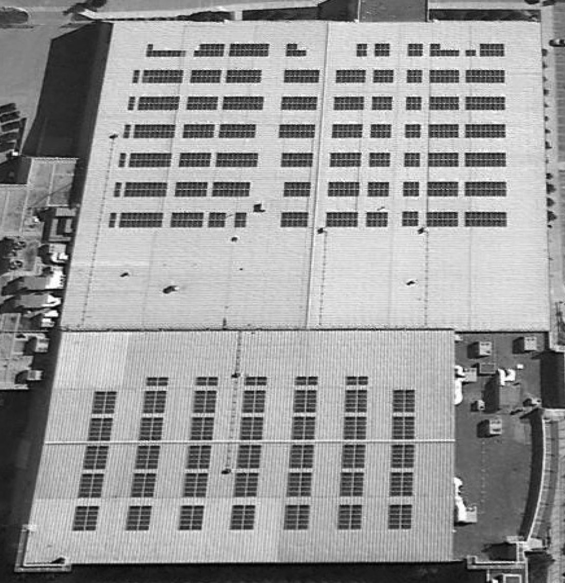 Western Fair Arenas Aerial View of solar panels installation by Solera
