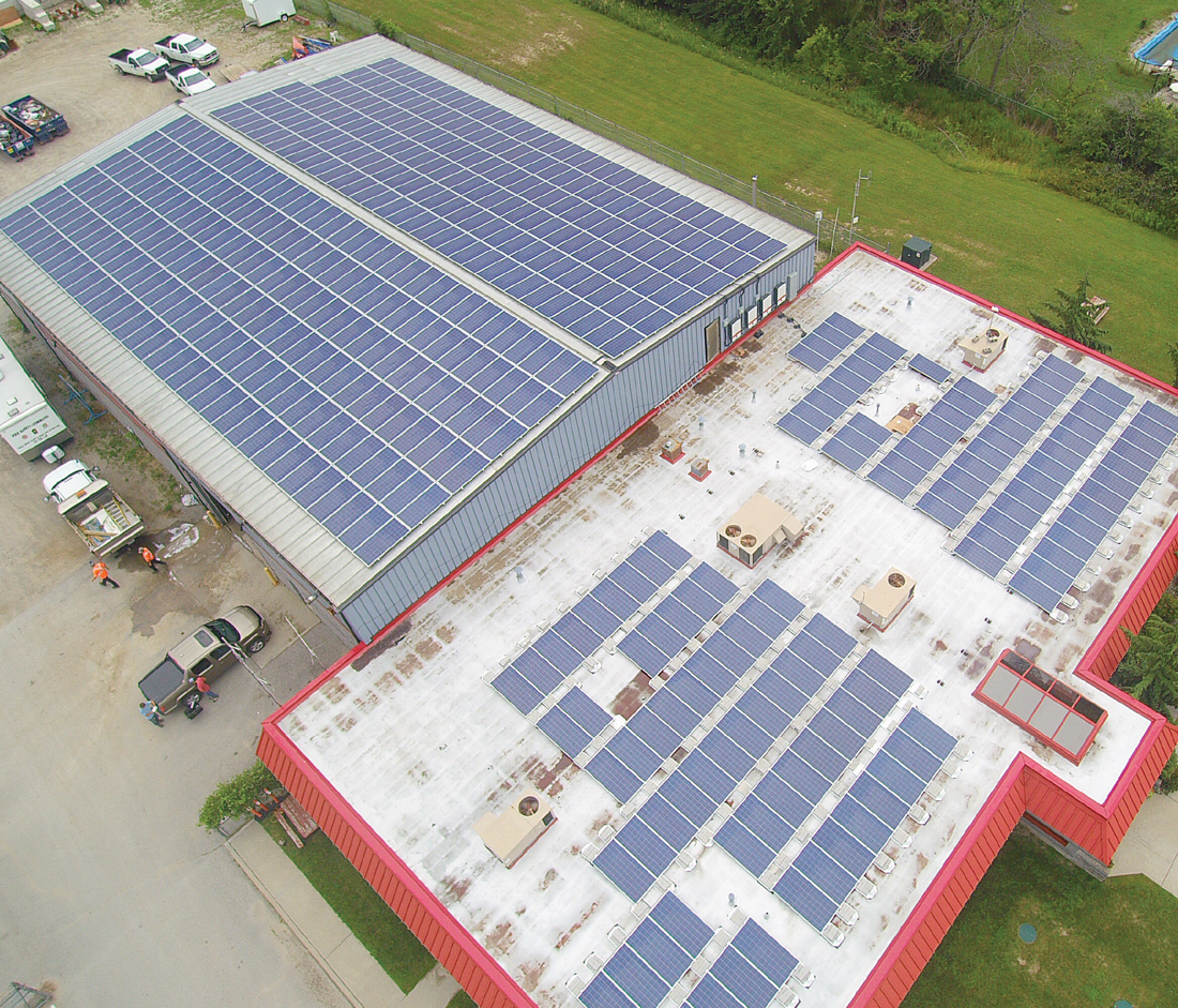 Joint Operation Centre Aerial View of Building with rooftop solar panels installed by Solera
