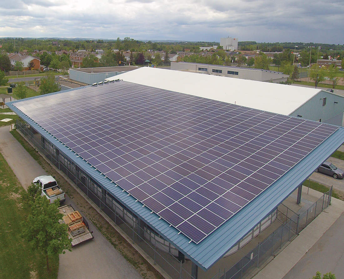 Roof Top View of Tottenham arena and new solar panels installed by Solera